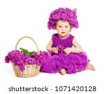 baby girl with lilac flowers ... | Shutterstock . vector #1071420128