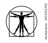 Vitruvian Man. Vector Sign.