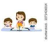 vector illustration of 2 kids... | Shutterstock .eps vector #1071426014