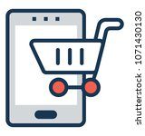 m commerce flat and line icon   | Shutterstock .eps vector #1071430130