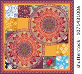 square silk scarf  cushion ...   Shutterstock .eps vector #1071431006