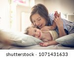fun in bed. | Shutterstock . vector #1071431633