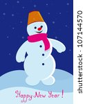 vector illustration snowman a... | Shutterstock .eps vector #107144570