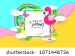 hello summer banner with sweet... | Shutterstock .eps vector #1071448736