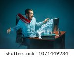 young stressed handsome... | Shutterstock . vector #1071449234