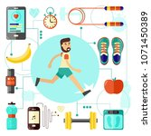 sports and healthy lifestyle... | Shutterstock .eps vector #1071450389