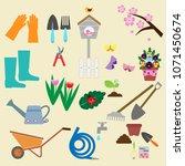 spring garden icon set  vector ... | Shutterstock .eps vector #1071450674