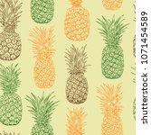 pineapple sketch seamless...   Shutterstock .eps vector #1071454589