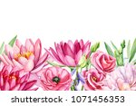 bouquet of flowers, ranunculus, lotus, blue bell, rose, peony, eustoma, greeting card, watercolor illustration on isolated white background, hand drawing,