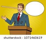 politician with long nose lies... | Shutterstock . vector #1071460619