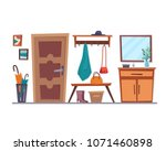hallway interior with furniture.... | Shutterstock .eps vector #1071460898