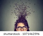 young woman with too many... | Shutterstock . vector #1071462596