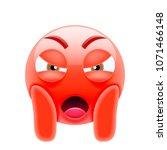 mean face screaming in fear... | Shutterstock .eps vector #1071466148