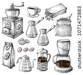 coffee hand drawn collection.... | Shutterstock .eps vector #1071472883