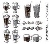 different coffee drinks... | Shutterstock .eps vector #1071473183