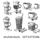 different coffee drinks... | Shutterstock .eps vector #1071473186