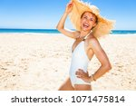 fun on white sand. portrait of... | Shutterstock . vector #1071475814