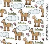 doodle seamless pattern with... | Shutterstock .eps vector #1071478820