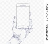 hand with phone on transparency ... | Shutterstock .eps vector #1071485549