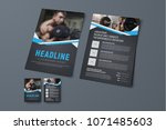 design of a black brochure with ... | Shutterstock .eps vector #1071485603