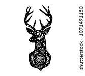 silhouette of deer with flower...   Shutterstock .eps vector #1071491150