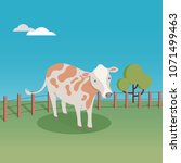 cute cow at the farm vector... | Shutterstock .eps vector #1071499463