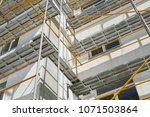 scaffolding near a new house ...   Shutterstock . vector #1071503864