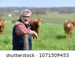Farmer Standing In Field With...