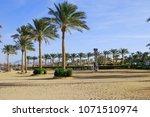 beautiful sunny beach. a row of ... | Shutterstock . vector #1071510974