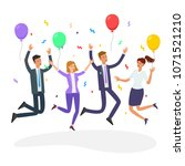 business people jumping. happy... | Shutterstock .eps vector #1071521210