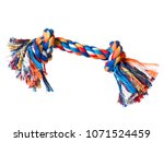 Stock photo dog toy colorful cotton rope for games isolated on white background with copy space 1071524459