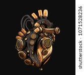 matte black with gold robotic... | Shutterstock . vector #1071528236