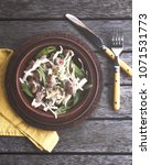 healthy salad with champignons  ...   Shutterstock . vector #1071531773
