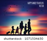 happy family travelers and... | Shutterstock .eps vector #1071534650