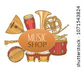 musical instruments composition.... | Shutterstock .eps vector #1071543824