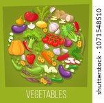 vegetables top view frame.... | Shutterstock . vector #1071548510