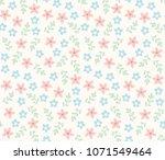 cute flowers vector pattern.... | Shutterstock .eps vector #1071549464