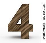 number 4 3d wooden isolated on... | Shutterstock . vector #1071552638