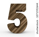 number 5 3d wooden isolated on... | Shutterstock . vector #1071552644