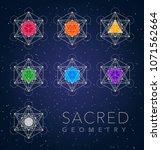 sacred geometry outline shapes... | Shutterstock .eps vector #1071562664