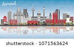 liverpool skyline with color... | Shutterstock .eps vector #1071563624