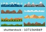 a set of pixel seamless element ... | Shutterstock .eps vector #1071564869