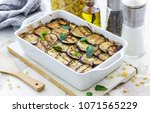 casserole with eggplant ... | Shutterstock . vector #1071565229