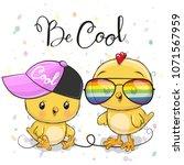 cute cartoon chickens boy and... | Shutterstock .eps vector #1071567959