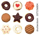 sweet set with donuts and... | Shutterstock .eps vector #107156804