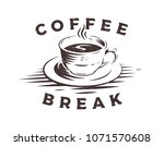 coffee cup logo with grunge... | Shutterstock .eps vector #1071570608