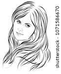 graphic portrait of a young... | Shutterstock .eps vector #1071586670