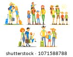 young families going on... | Shutterstock .eps vector #1071588788