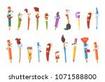 smiling pen  pencils and... | Shutterstock .eps vector #1071588800