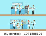 chemists in the chemical... | Shutterstock .eps vector #1071588803